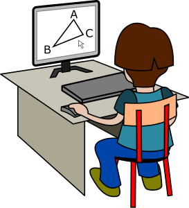 student at computer doing geometry